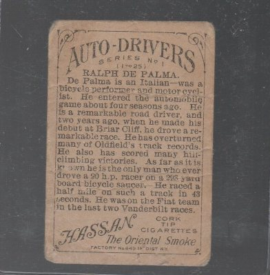 1911 American Tobacco Auto Drivers #6 Ralph DePalma Hassan/Factory 30 Back (back)