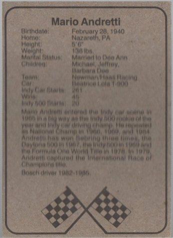 1986 BOSCH INDY #1 MARIO ANDRETTI (back)