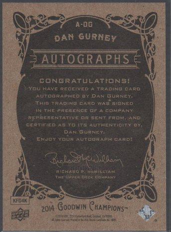 2014 Upper Deck Goodwin Champions - Autographs #A-DG Dan Gurney (back)