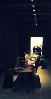 Social space / library with special Gamper chairs and table