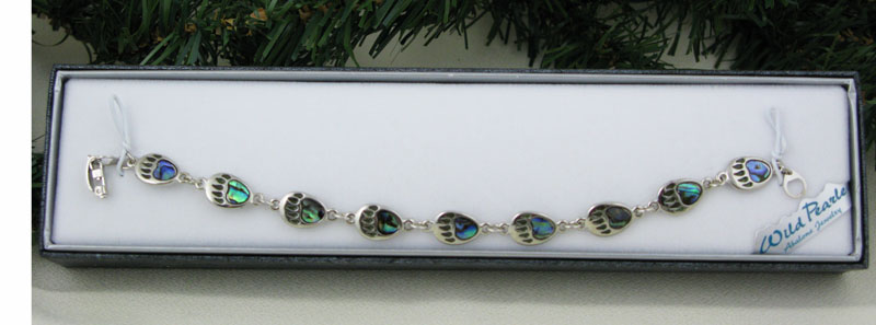 Abalone Bear Paw Link Bracelet