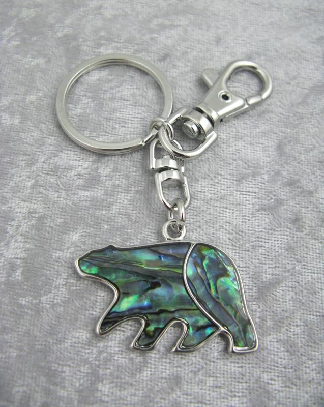 Abalone Bear Keychain