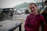 Sheena at our favourite roadside tea wallah where decisions were made and plans were hatched.