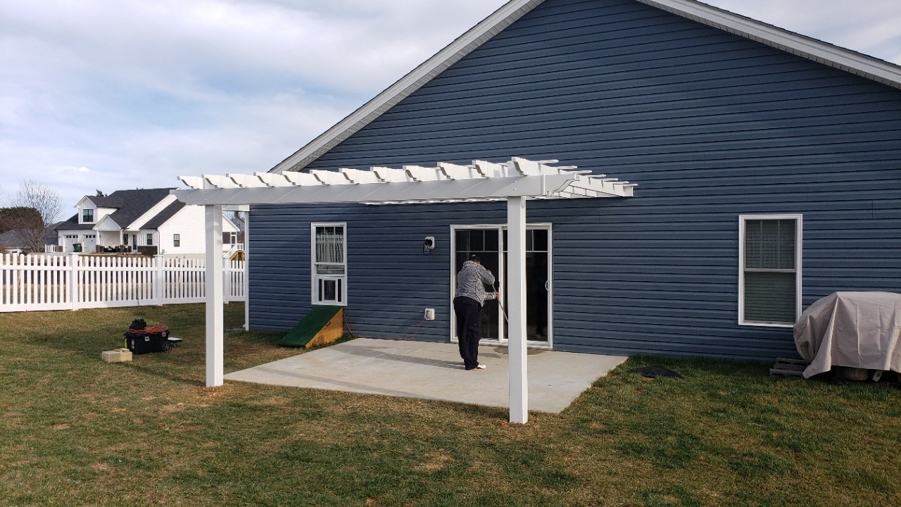 New White Vinyl Pergola - Custom Project