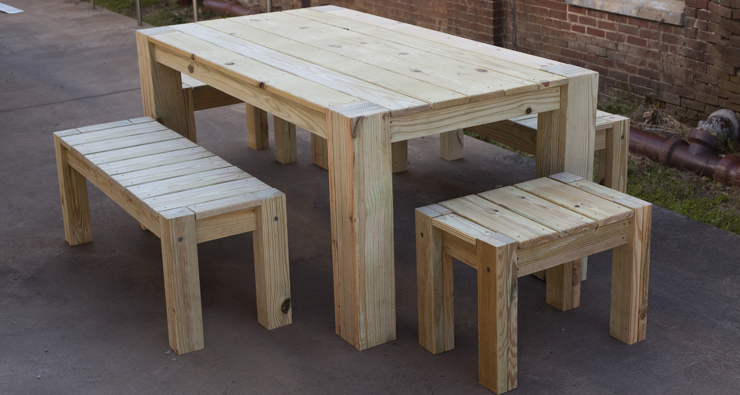 Large Table Set - Unfinished - Pressure Treated Wood