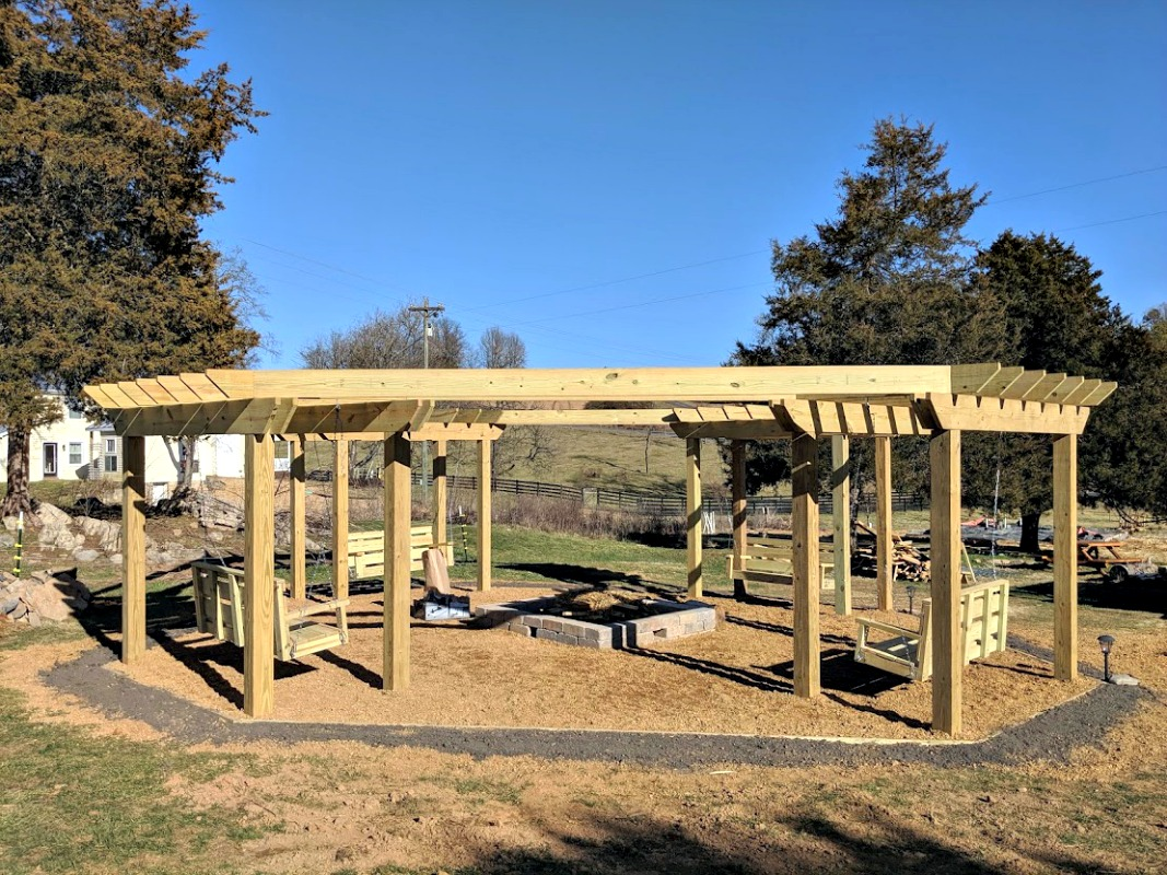 Pergola - Fire Pit - Swings - Pressure Treated Wood