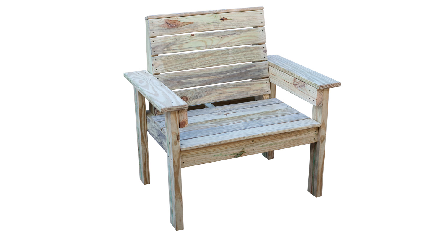 Outdoor Chair - Pressure Treated Wood - White Background