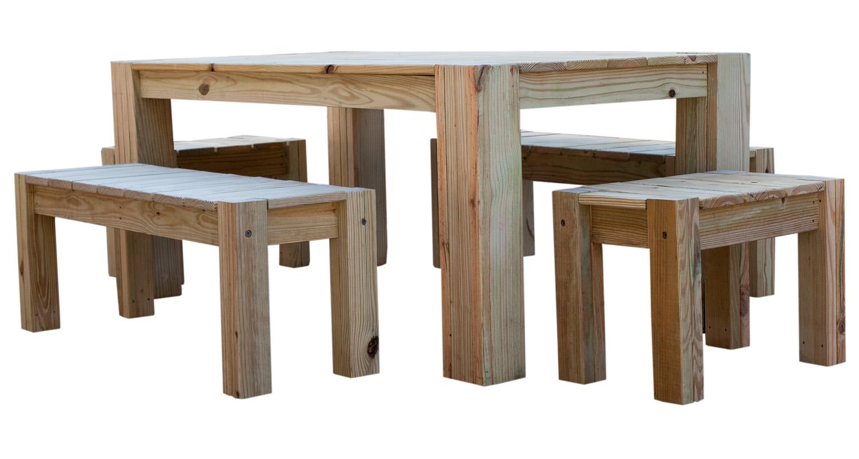 Large Table Set - Unfinished - White Background