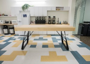 Side and base angle of Maple/Cherry office kitchen table for SMS Engineering