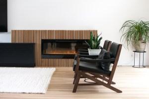 Beautiful Electric Fireplace with Custom White Oak Slats in River Heights, Winnipeg