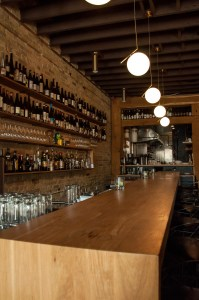 Custom bar top made with White Oak for The Oxbow Natural Wine Bar & Restaurant