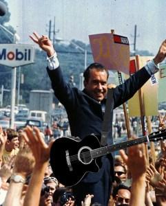 Richard Nixon Playing A Guitar