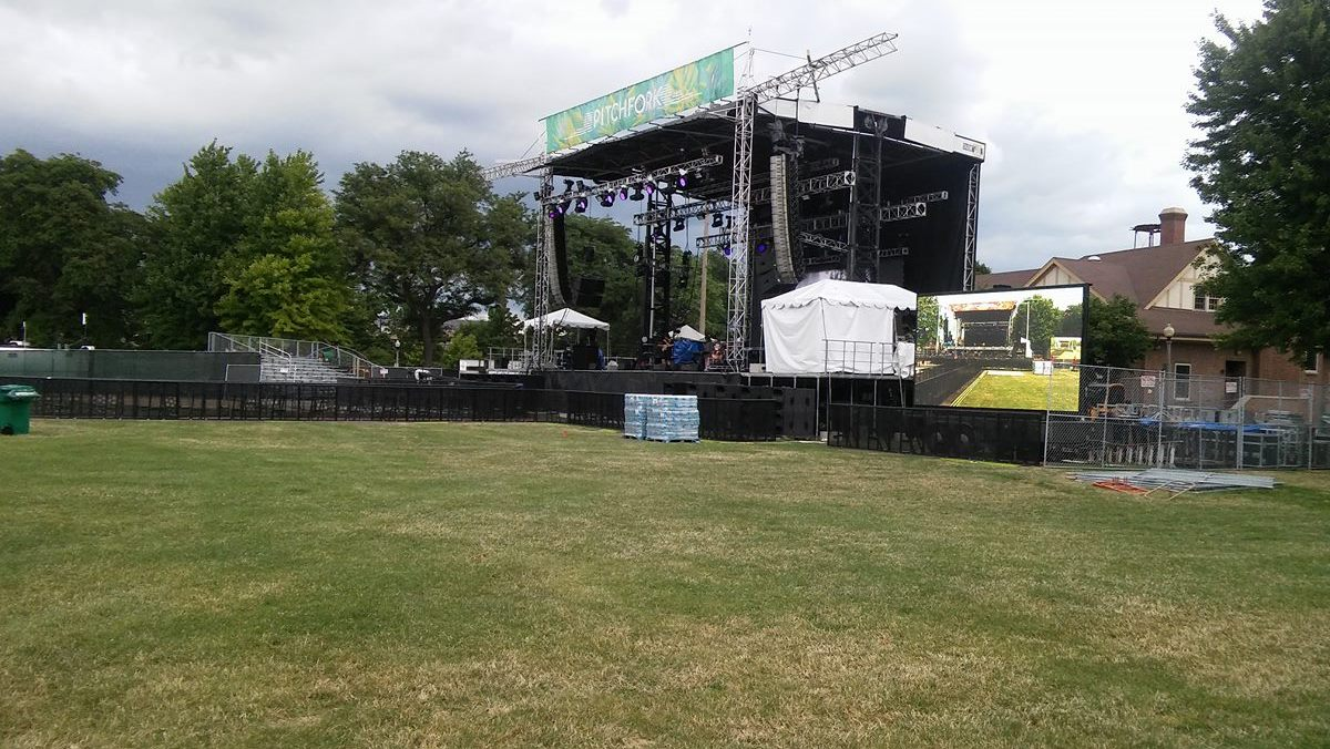 Setting up at the Pitchfork Music Festival