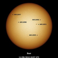 Observing Report 11th August 2010 (Sunspots in Active Regions 1093, 1095, 1096, 1097 and 1098)