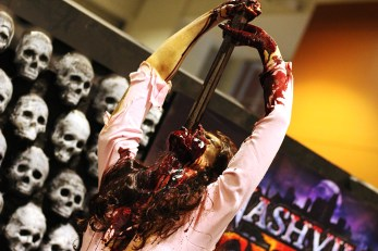 This prop was spinning while impaled upon the sword she had swallowed