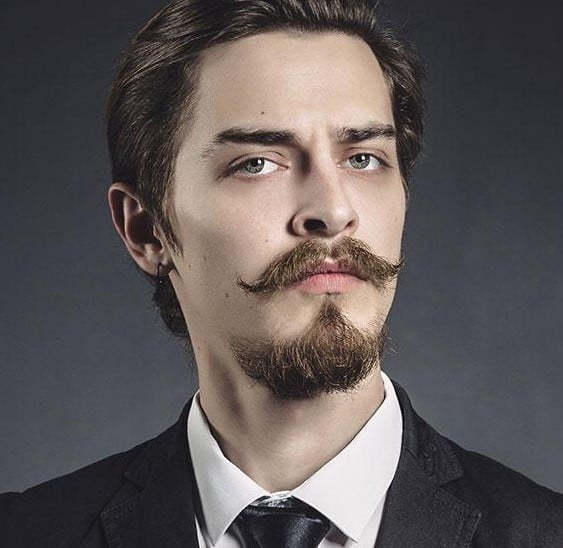 Goatee beard style with mustache