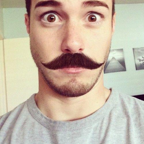 stubble beard and handlebar mustache