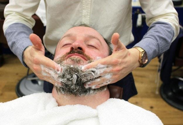 washing beard with shampoo