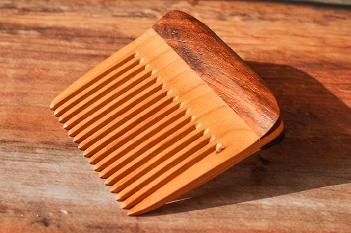 wooden hair comb to trim beard neckline