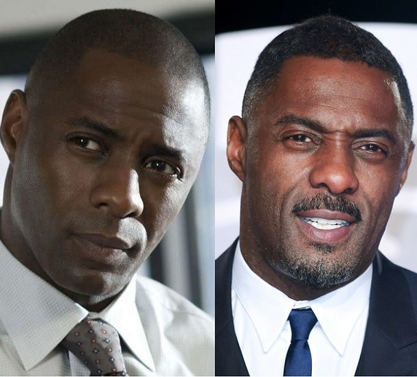 Idris Elba with and without beard
