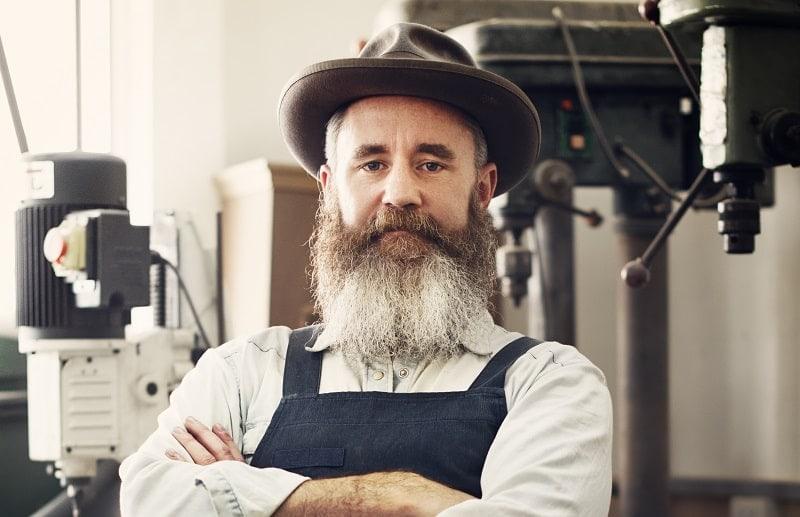 bushy beard with long mustache
