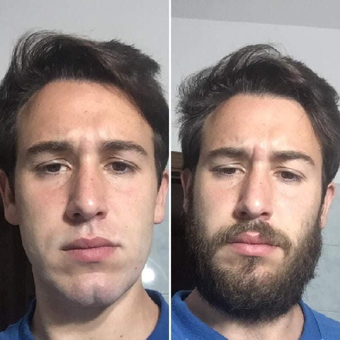 clean shaven vs full beard look