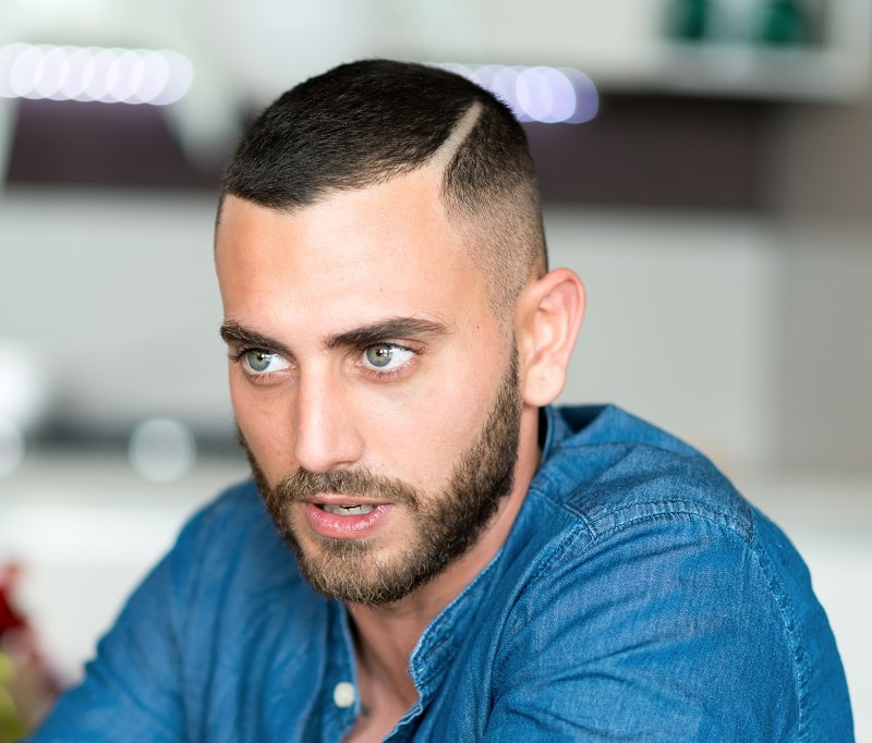 side part buzz cut with beard