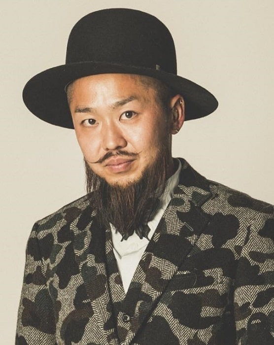 japanese guy with long ducktail beard