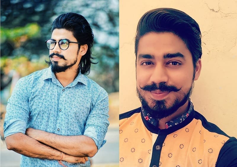 long mustache with short patchy beard