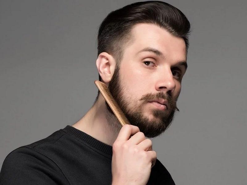 short beard with long mustache trim