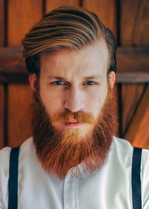 red bushy beard with comb over brown hair