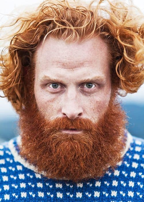 Scruffy RedBeard with Curly Caramel Brown Hair