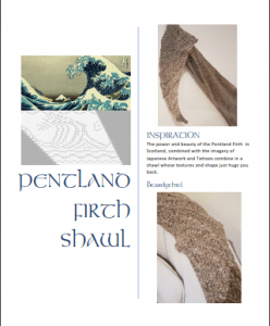 Pentland Firth Shawl pattern cover.