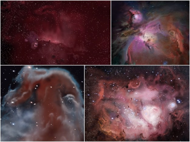 Clockwise from top left: In process IC 434 (tiny dark spot near the middle is the thick gas and dust of the Horsehead Nebula), Orion Nebula, Lagoon Nebula, close-up Horsehead Nebula in infrared