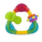 bearfootmama.com How to Shower With Your Baby. How often to Bathe infant. Distract your newborn with a teether / teething toy!
