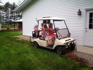 The best part of any event at home is always riding in the golf cart!