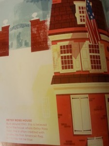 One of the illustrations with information about the Betsy Ross House