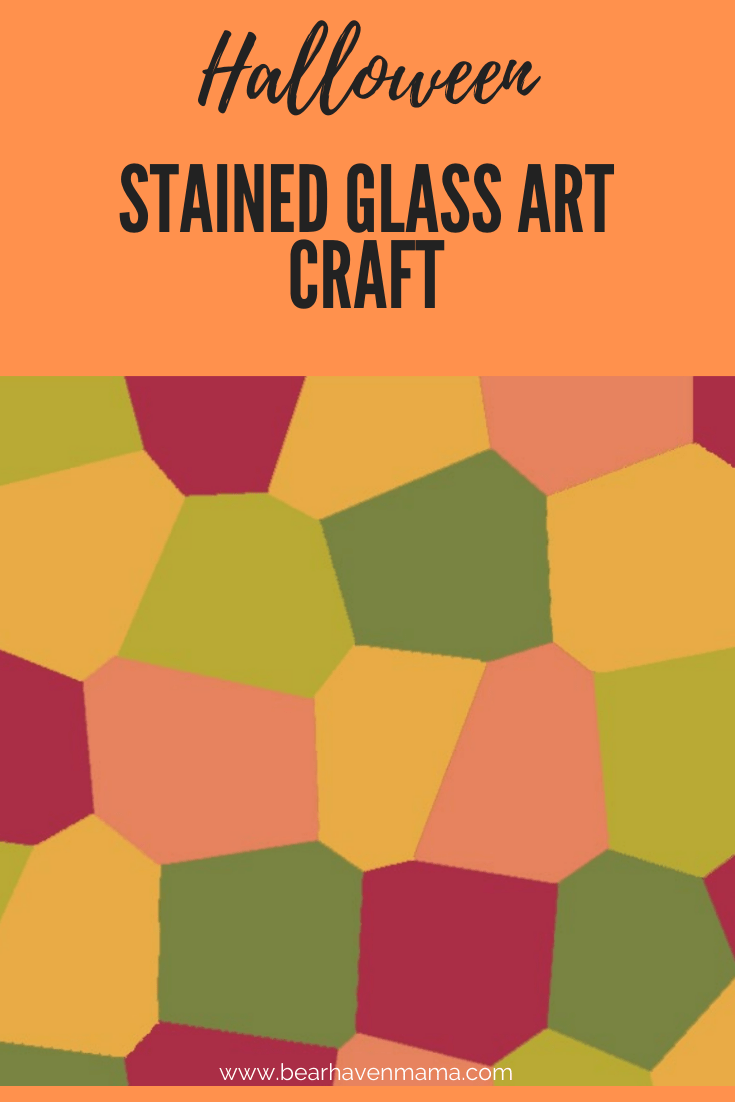 Fun Halloween Stained Glass Art Craft for kids. Great to help kids learn coloring and cutting skills