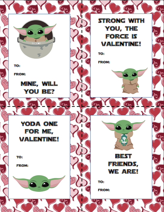 Obsessed with Baby Yoda you are? Then I got you covered for some Valentines' Day fun with these free printable Baby Yoda Valentine's Day cards.