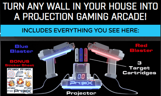Turn any wall in your house into a projection gaming arcade! The ProjeX Projecting Game Arcade provides hours of fun without the need for tv! It is portable and comes with everything you need! Play outside or on a wall in your home!