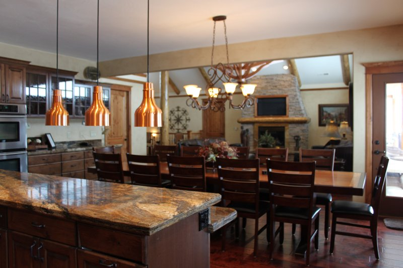 Heat lamps over kitchen island