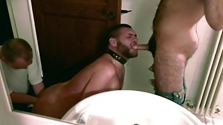 Cocksucker slave with 2 Masters