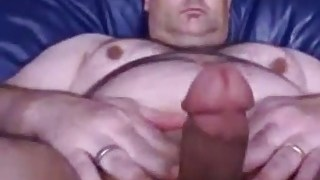 Daddy bear playing with his fat cock