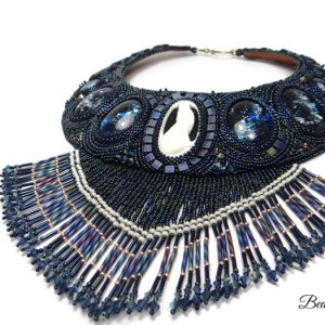 collier plastron Night Call, bead embroidery