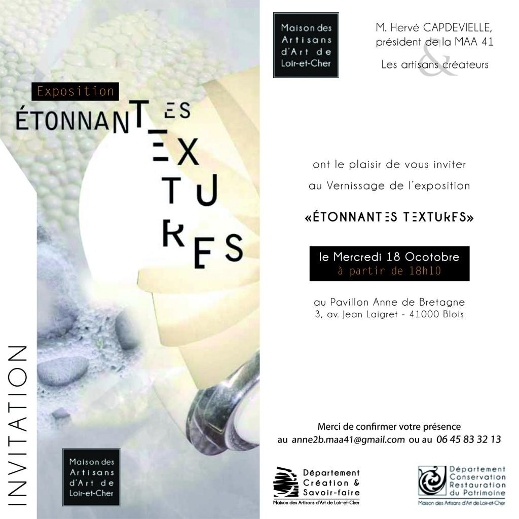 invitation à l'exposition Etonnantes Textures