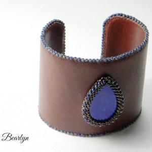 manchette lapis lazuli et cuir