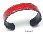 bracelet crocodile rouge doublé veau lisse marine_BearlyN