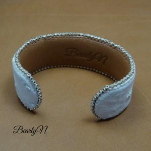 Bracelet autruche blanc signé BearlyN