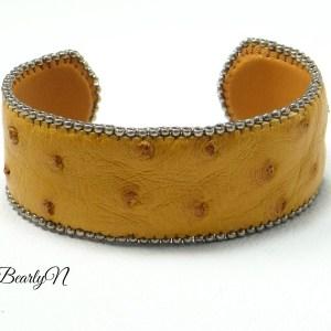 bracelet cuir autruche fauve_BearlyN