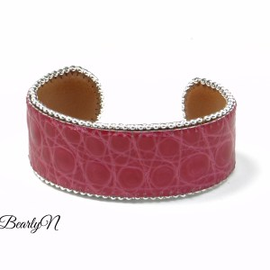 bracelet cuir crocodile rose_BearlyN